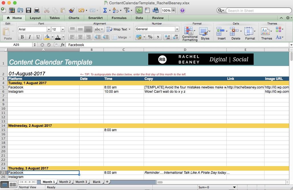 Social Media Content Calendar Template Rachel Beaney