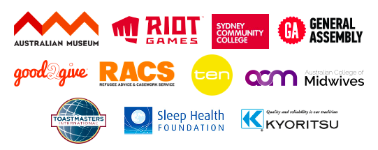 Clients Rachel has worked with like Australian Museum, Riot Games, Sleep Health Foundation, General Assembly and more